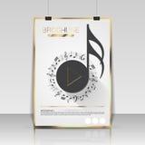 Design för musikbroschyrräkning Reklamblad affisch, häftemall stock illustrationer