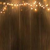 Design för nytt år för jul: träbakgrund med girlanden för julljus Vektorillustration, EPS10 Arkivbild