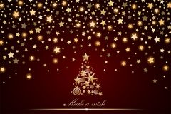Design för nytt år och julkort: guld- julgran som göras av stjärnor och snöflingor Arkivfoton