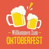 Design för Oktoberfest typografivektor för hälsningkort och affisch Baner för ölfestivalvektor royaltyfri illustrationer