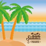 Design för palmträd för hav för strand för affischsommarparadis vektor illustrationer