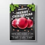 Design för parti för glad jul för vektor med ferietypografibeståndsdelar och glass bollar på tappningträbakgrund Arkivbild