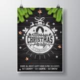 Design för parti för glad jul för vektor med ferietypografibeståndsdelar och skinande stjärnor på tappningträbakgrund royaltyfri illustrationer