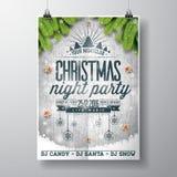 Design för parti för glad jul för vektor med ferietypografibeståndsdelar och skinande stjärnor på tappningträbakgrund vektor illustrationer
