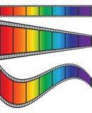 Design för regnbåge för Cimena filmband färgrik, materielvektorillustrat royaltyfri illustrationer