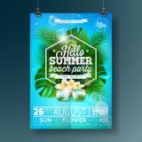 Design för reklamblad för parti för vektorsommarstrand med typografisk design på naturbakgrund med palmträd och solglasögon Arkivfoto