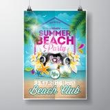 Design för reklamblad för parti för vektorsommarstrand med typografiska beståndsdelar royaltyfri illustrationer