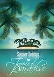 Design för reklamblad för vektorsommarferie med palmträd. Royaltyfria Bilder