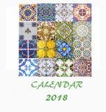 Design 2018 för reklamblad för mall för skrivbordkalender dekorativa tegelplattor Arkivbild