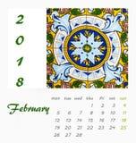 Design 2018 för reklamblad för mall för skrivbordkalender dekorativa tegelplattor Arkivfoton