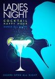 Design för reklamblad för natt för damer för lycklig timme för händelse för parti för vektorillustrationmall med coctailexponerin stock illustrationer