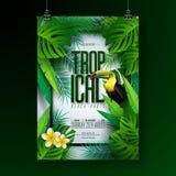 Design för reklamblad för parti för strand för vektorsommar tropisk med tukan, blomman och typografiska beståndsdelar på exotisk  vektor illustrationer