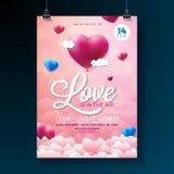Design för reklamblad för parti för vektorvalentindag med typografi och ballonghjärta på molnbakgrund air förälskelse stock illustrationer
