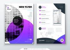 Design för reklambladmallorientering Affärsreklamblad-, broschyr-, tidskrift- eller reklambladmodell i ljusa färger med cirkelrun stock illustrationer