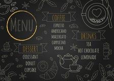 Design för restaurangkaffemeny med svart tavlabakgrund stock illustrationer