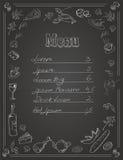 Design för restaurangmatmeny med den svart tavlan Arkivfoto