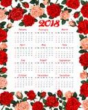 Design 2018 för rosor för blommor för kalendervektor blom- Arkivbild