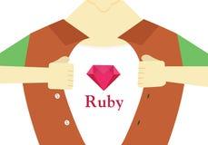 Design för rubinhjältelägenhet Avancerad rubin som programmerar den begreppsmässiga illustrationen Royaltyfri Foto