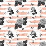 Design för sömlös bakgrund för blomma för rosmodelltappning moderiktig randig, eleganta hand-drog gråa rosor vektor royaltyfri illustrationer