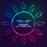 Design för ` s för nytt år 2018 med julgranen, neonljuseffekt Arkivfoto