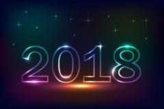 2018 design för ` s för nytt år, neonljuseffekt Arkivbild