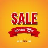 Design för Sale banermall Upp till 50% av också vektor för coreldrawillustration Royaltyfri Fotografi