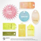 Design för Sale etikettadvertizing med blått för gul brunt för rosa färggräsplan Arkivfoto