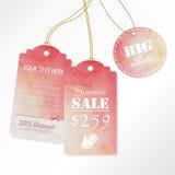 Design för Sale etikettadvertizing med rosa vattenfärgsommar på mitt- Royaltyfria Foton