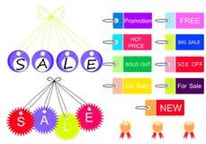 Design för Sale meddelande- och symbolslast Arkivbilder