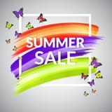 Design för Sale sommarbaner med ramen och fjärilar Fotografering för Bildbyråer