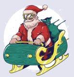 Design för Santa Claus flugavektor royaltyfri illustrationer