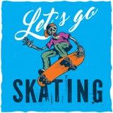 Design för skateboardt-skjorta etikett med illustrationen av den skelett- spela skateboarden Royaltyfri Bild