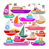 Design för skepp-, yacht- och fartygvektorsymbol stock illustrationer