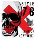 Design för skjorta för skalle T grafisk royaltyfri illustrationer
