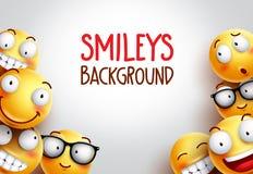 Design för Smileyvektorbakgrund med gula emoticons royaltyfri illustrationer
