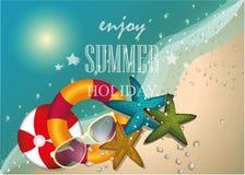 Design för sommarstrandvektor, tecken, bakgrund, illustration Royaltyfri Fotografi