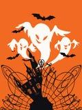 Design för spöklikt hustrick- eller festkort royaltyfri illustrationer