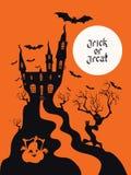 Design för spöklikt hustrick- eller festkort vektor illustrationer