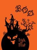 Design för spöklikt hustrick- eller festkort stock illustrationer
