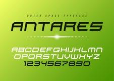 Design för stilsort Antares för futuristisk vektor dekorativ kursiv, alphabe stock illustrationer