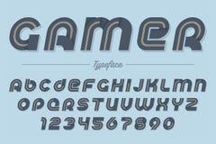 Design för stilsort för Gamervektor dekorativ kursiv, alfabet, stilsort, vektor illustrationer