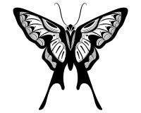 Design för svart för fjäril vit kontur& vektor illustrationer