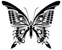 Design för svart för fjäril vit kontur& royaltyfri illustrationer