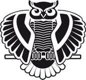 Design för svartvitt ugglasammanträde för logo Royaltyfri Foto
