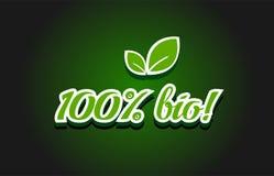 design för symbol för 100% bio textlogo royaltyfri illustrationer