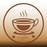 Design för symbol för logo för kaffekopp och kaffebönor Royaltyfria Bilder