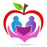 Design för symbol för vektor för symbol för bok för omsorg för student för äpple för utbildningsstudielogo royaltyfri illustrationer