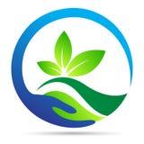 Design för symbol för vektor för symbol för gräsplan för växt för ekologi för jord för wellness för blad för räddningnaturlogo Fotografering för Bildbyråer