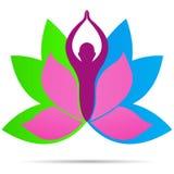 Design för symbol för vektor för symbol för liv för kondition för wellness för logo för Lotus yogafolk sund royaltyfri illustrationer