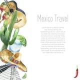 Design för symboler för vattenfärg för loppbegreppsMexico gränsmärke Arkivfoton